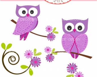 Purple owls clip art.