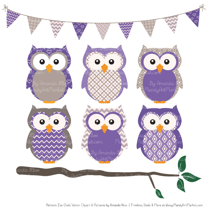 Purple Patterned Owl Clipart & Patterns.