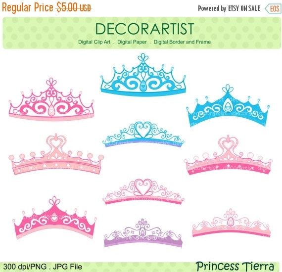 Princess clip art., princess Tiara , blue, pink , purple , INSTANT.