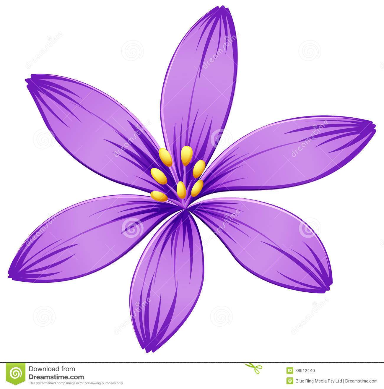 Five Petal Flower Clipart.