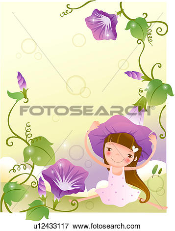 Stock Illustration of Purple Petunias and a Little Girl u12433117.