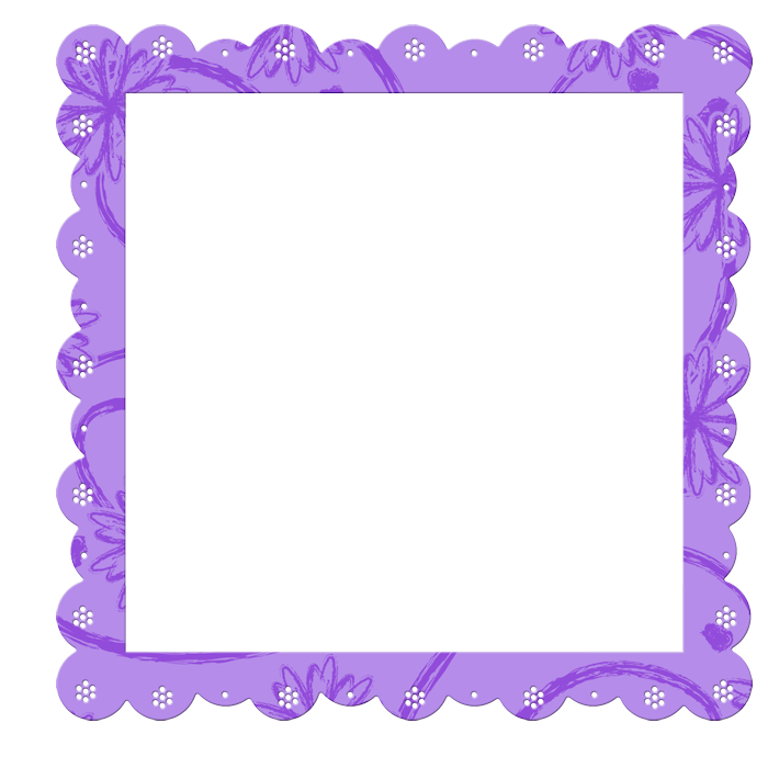 Purple Transparent Frame with Flowers Elements.