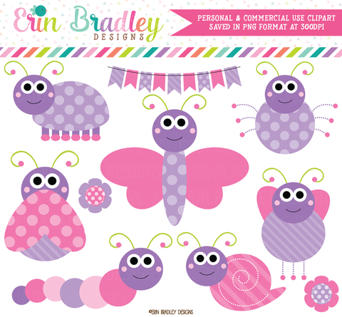 Pink and Purple Cute Bugs Clipart.