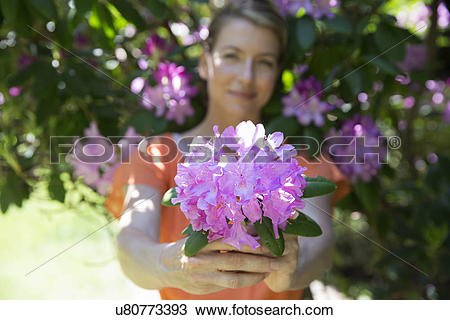 Stock Photo of A woman standing in front of a flowering shrub.