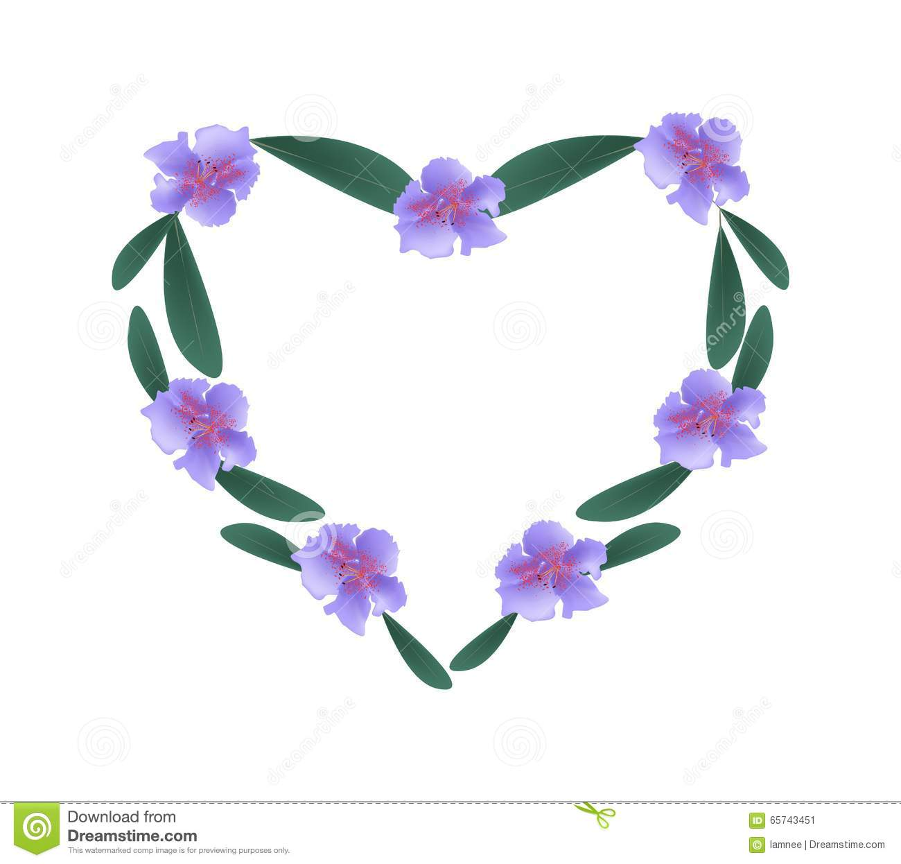 Purple Rhododendron Flowers In A Heart Shape Stock Vector.