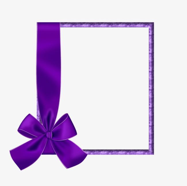 Purple Ribbon Border PNG, Clipart, Border Clipart, Bow.