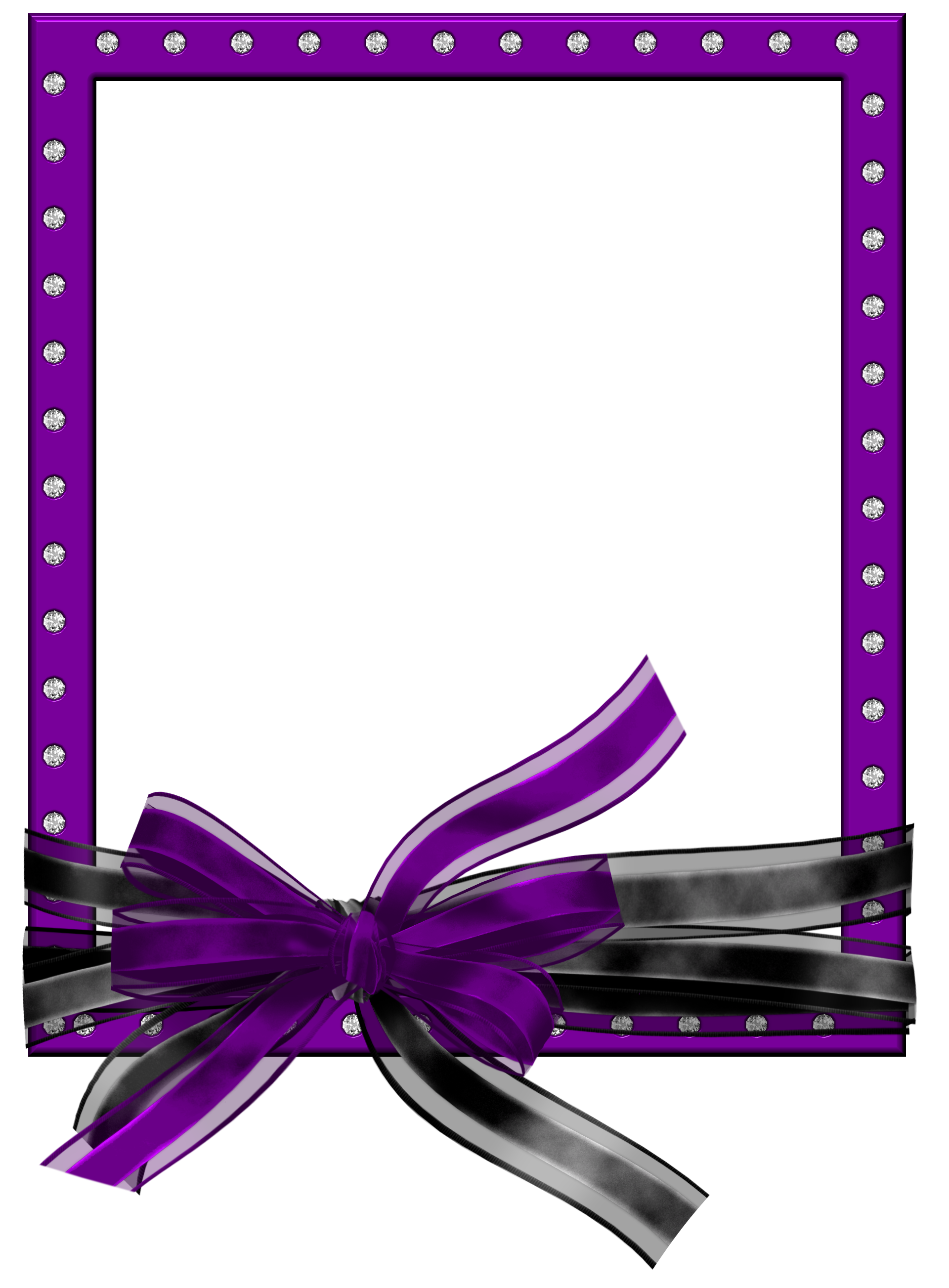 Purple PNG Photo Frame with Black and Purple Bow.