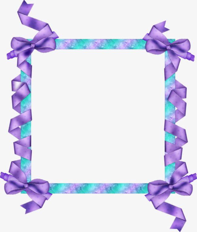 Purple Ribbon Border PNG, Clipart, Border Clipart, Colored.
