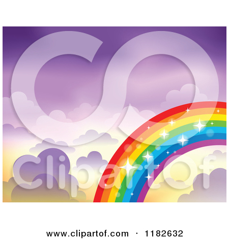 Cartoon of a Sparkly Rainbow and Clouds in a Purple Sky.