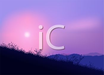 Purple Sky Twilight In the Hills.