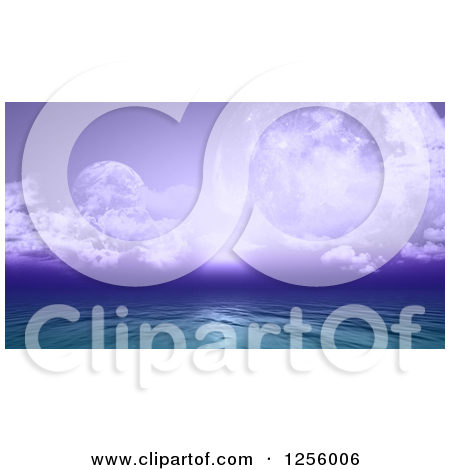 Clipart of a 3d Fictional Ocean with Purple Sky and Planets.