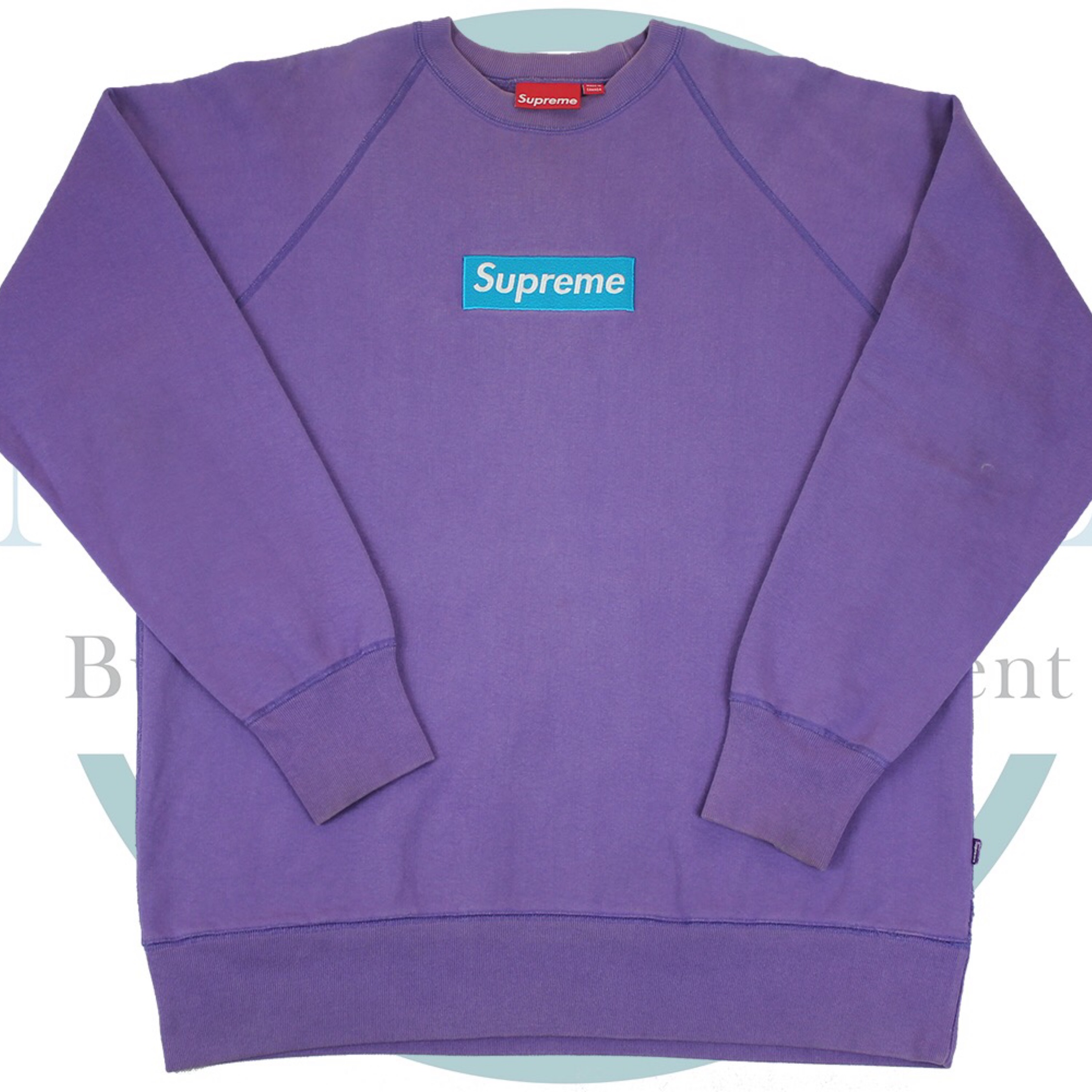 Supreme Teal On Purple Box Logo Crewneck.
