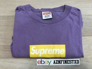 Details about 2006 Supreme Box Logo Purple Yellow Sz Large L brooklyn camo.