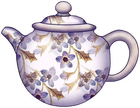 Vintage Floral Teapot Clip Art.