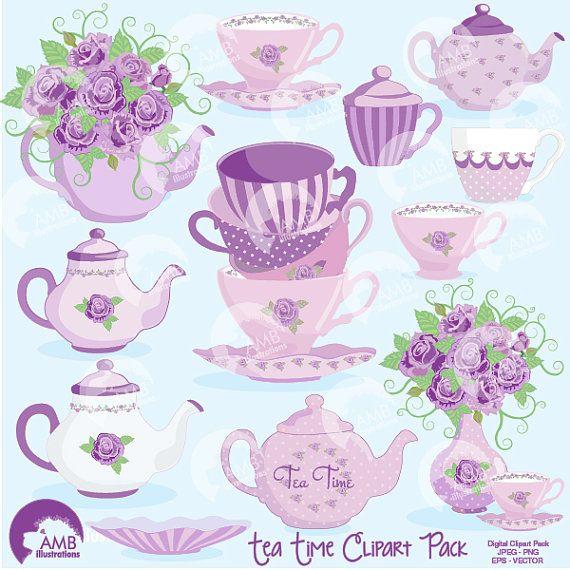 Tea Clipart, Tea Party Clipart, Tea Time, lavender, clipart.