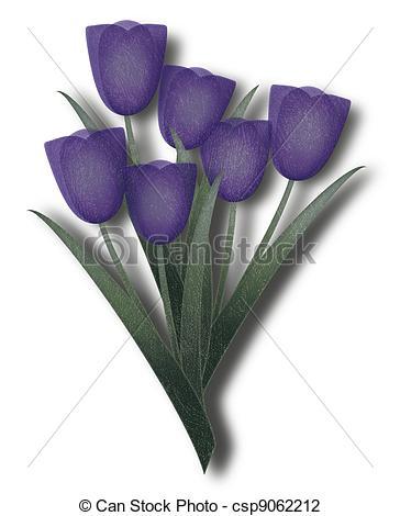 Clip Art of Grunge purple tulip.