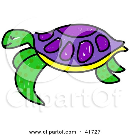 Clipart Illustration of a Sketched Green and Purple Sea Turtle by.