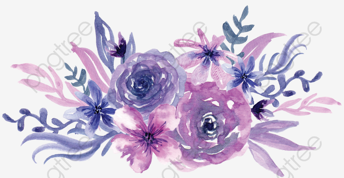 Watercolor Purple Flowers, Watercolor Clipart, Watercolor.
