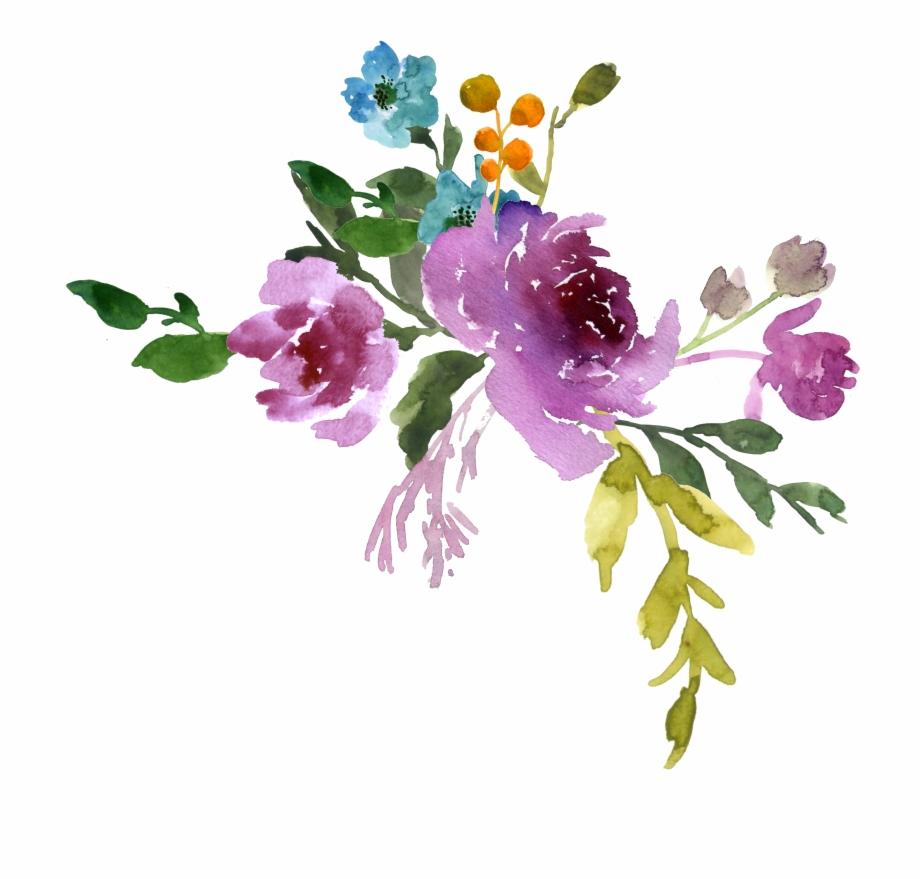 Transparent Watercolor Flowers.
