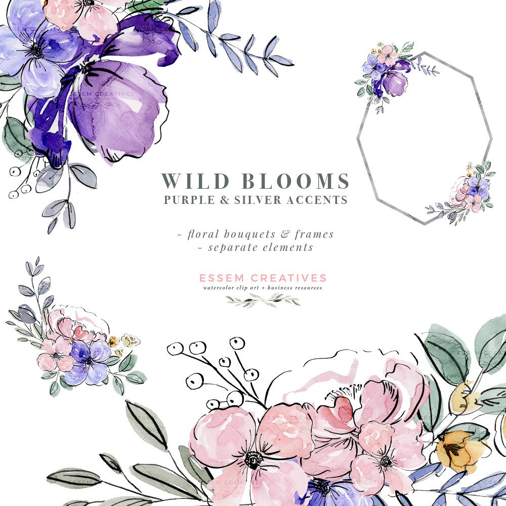 Purple Watercolor Flowers Clip Art, Silver Violet Lavender Floral Graphics  Frames Bouquets PNG.