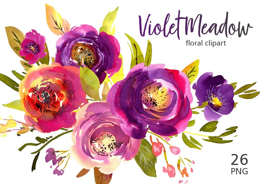 Violet Meadow Watercolor Flowers PNG.