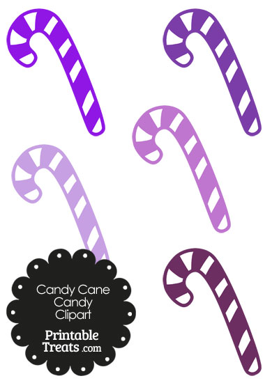 Purple and White Candy Cane Clipart — Printable Treats.com.