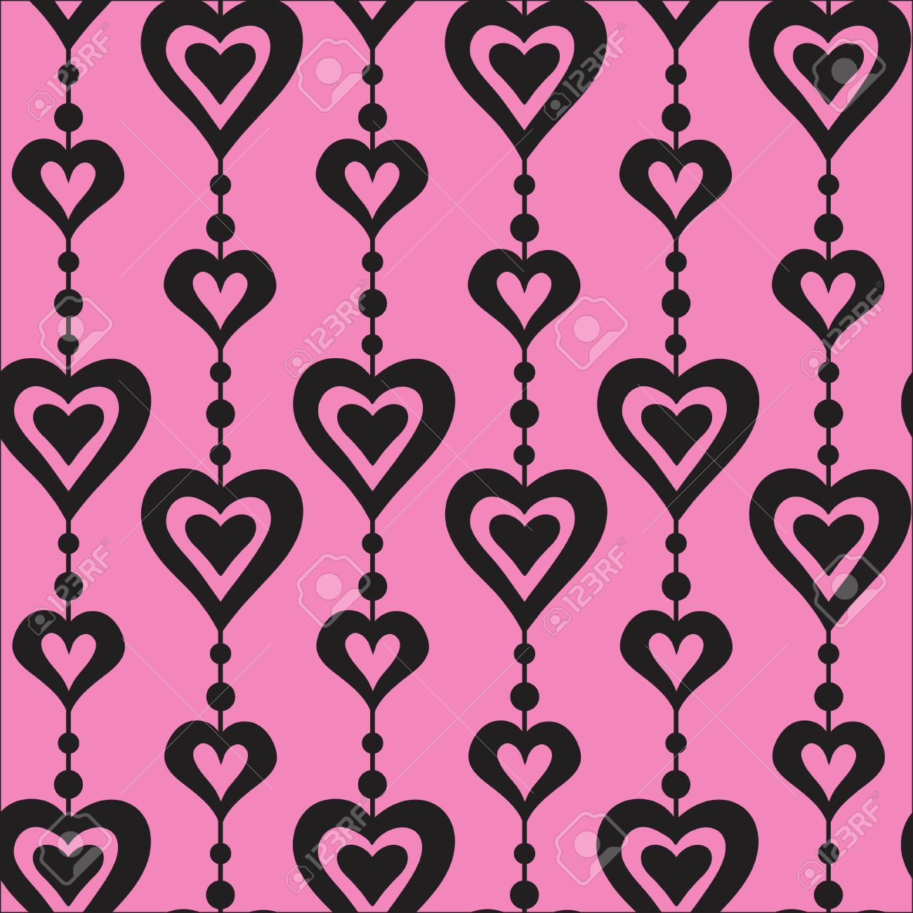 Pink And Black Hearts And Pearls Vector Seamless Pattern. Love.