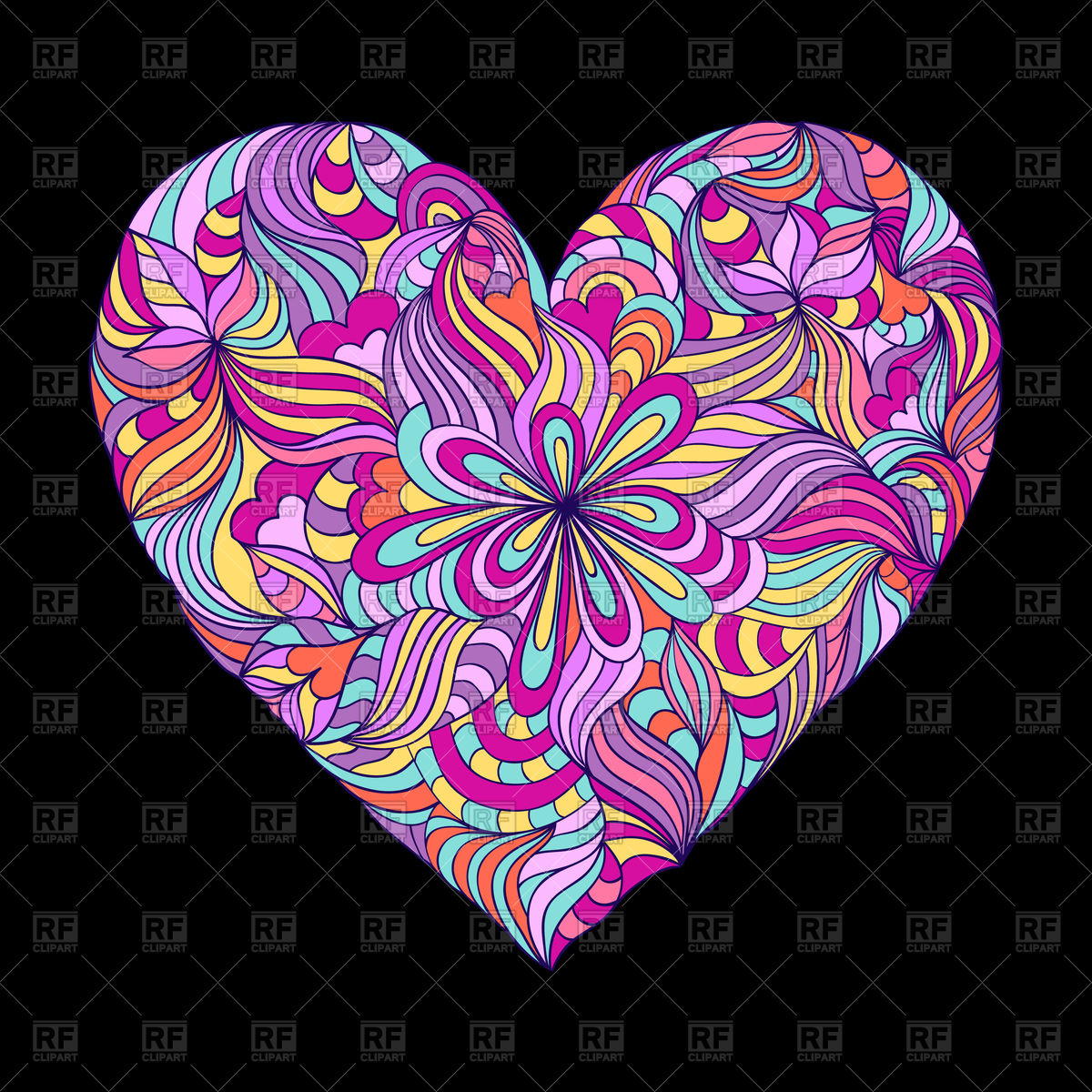 Colorful heart on black background Vector Image #97937.