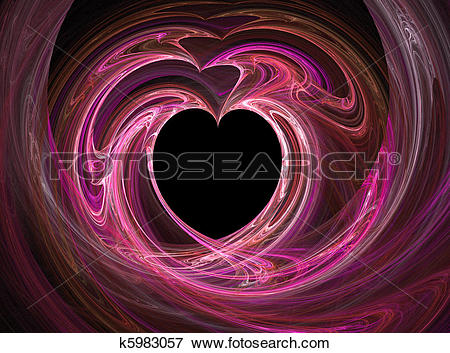Stock Illustration of Black heart among pink and purples k5983057.
