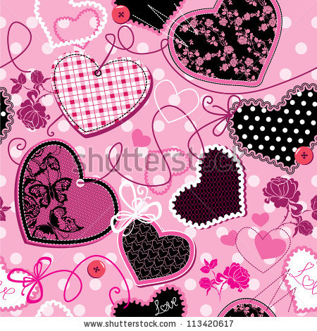 Hearts Wallpaper Pink Black Stock Photos, Royalty.