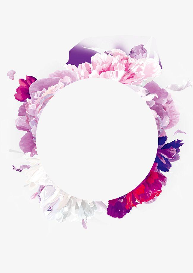 Purple Flowers Garland, Hand Painted, Purple, Wreath PNG.