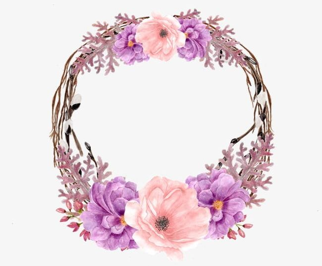 Purple Wreath PNG, Clipart, Flowers, Hand Painted, Hand.