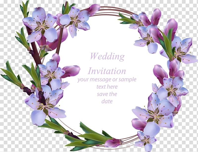 Purple and pink cherry blossoms wedding invitation.