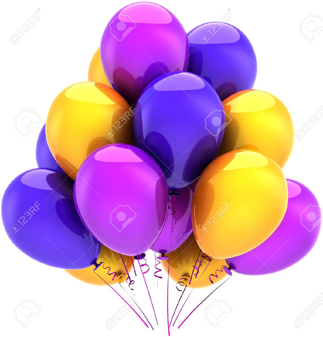 Balloons Birthday Party Multicolor Decoration Blue Purple Yellow.