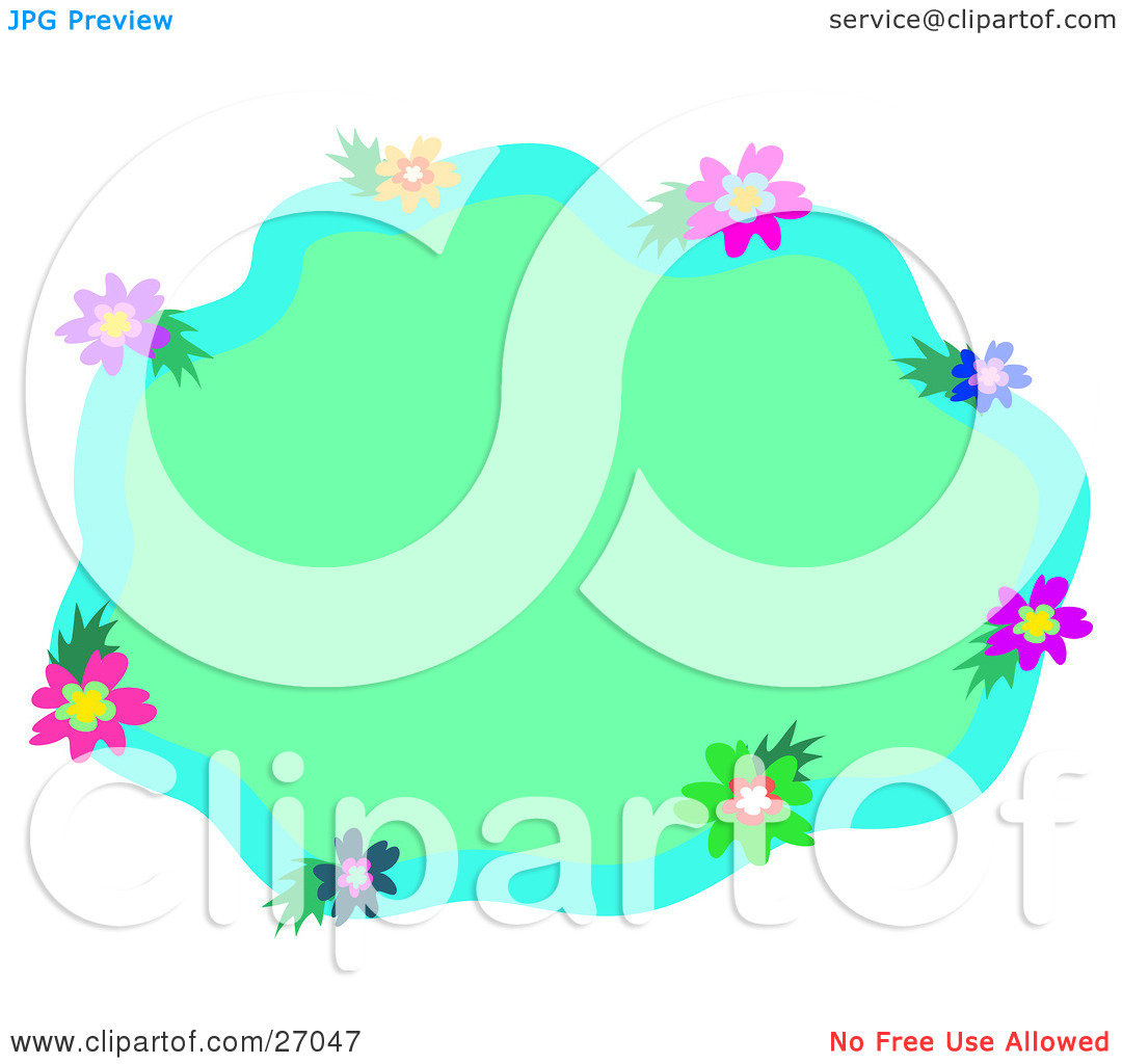 Clipart Illustration of a Blue Border Of Purple, Yellow, Pink.