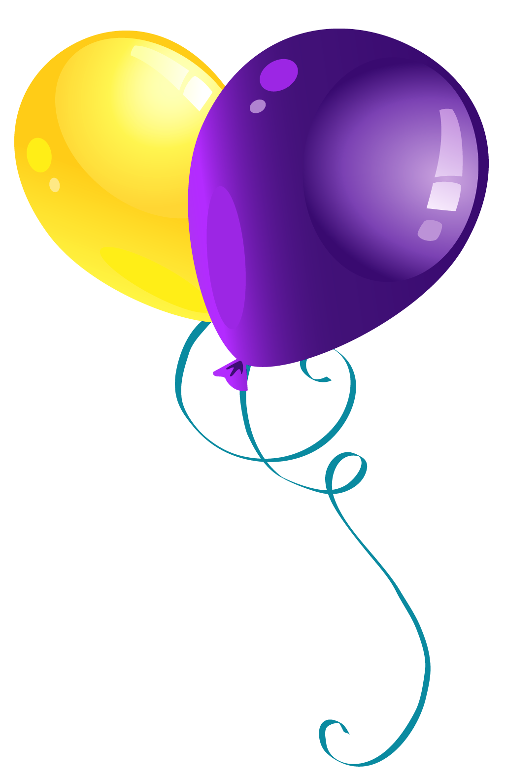 Yellow and Purple Balloons PNG Clipart Picture.