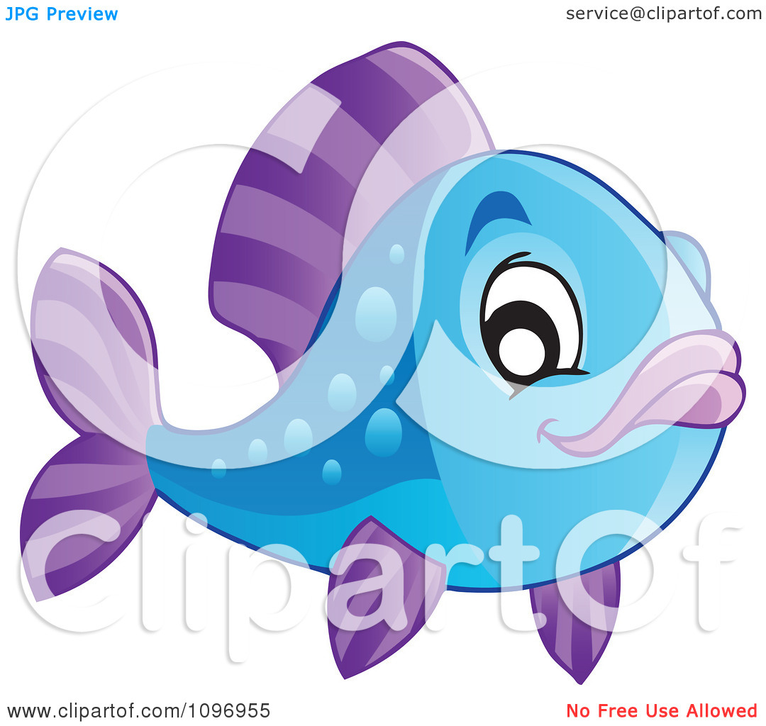 Clipart Happy Blue And Purple Fish.