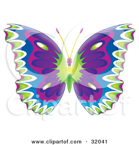 Clipart purplish blue butterfly with hearts on wings.