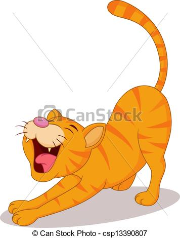 Vector Clipart of Cute cat streching.