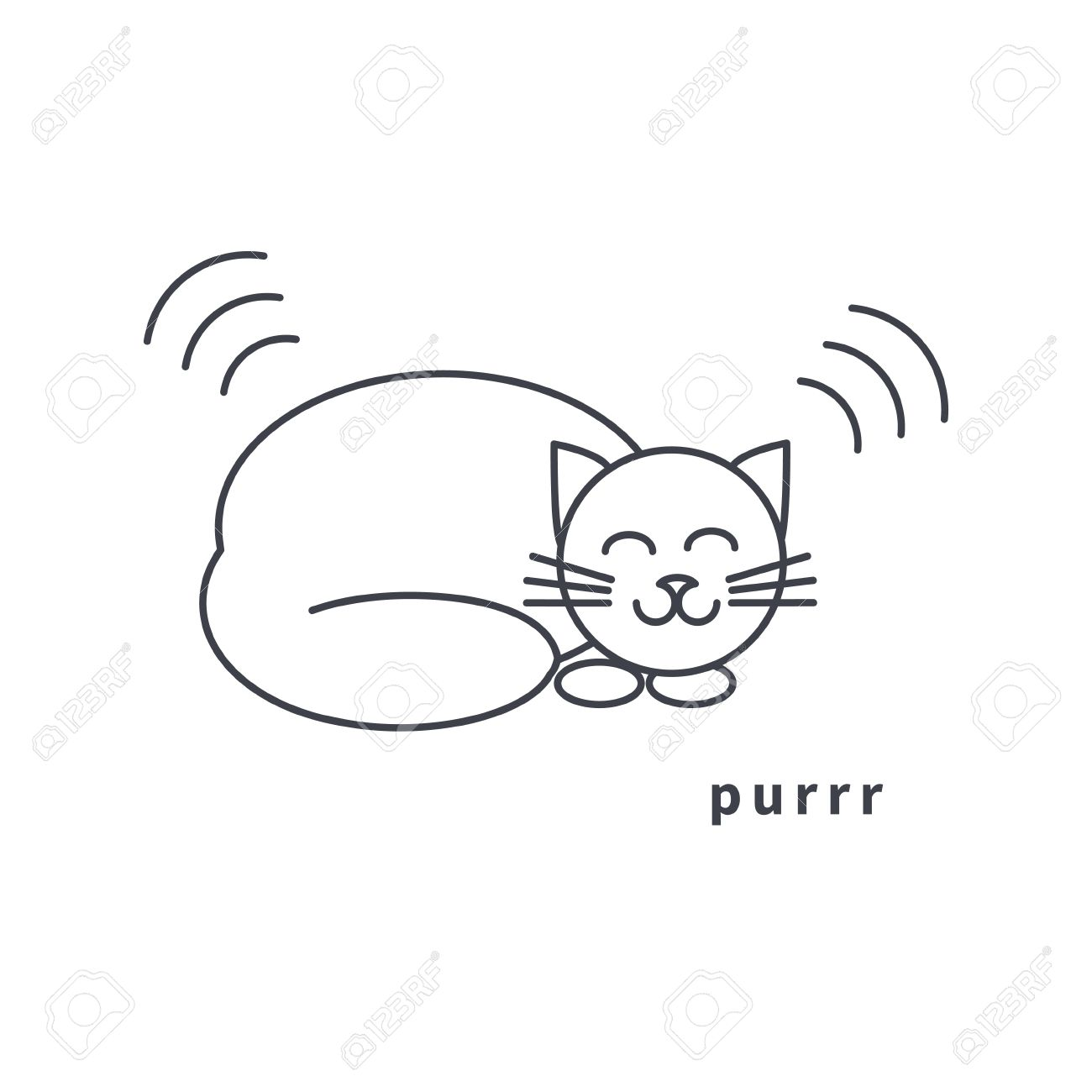Happy Resting Purr Home Smiling Cat. Line Icon On White Background.