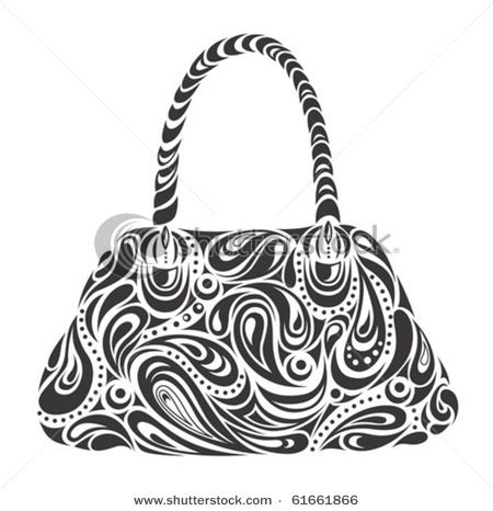 Stock Photo Of a Black and White Designer Handbag or Purse.