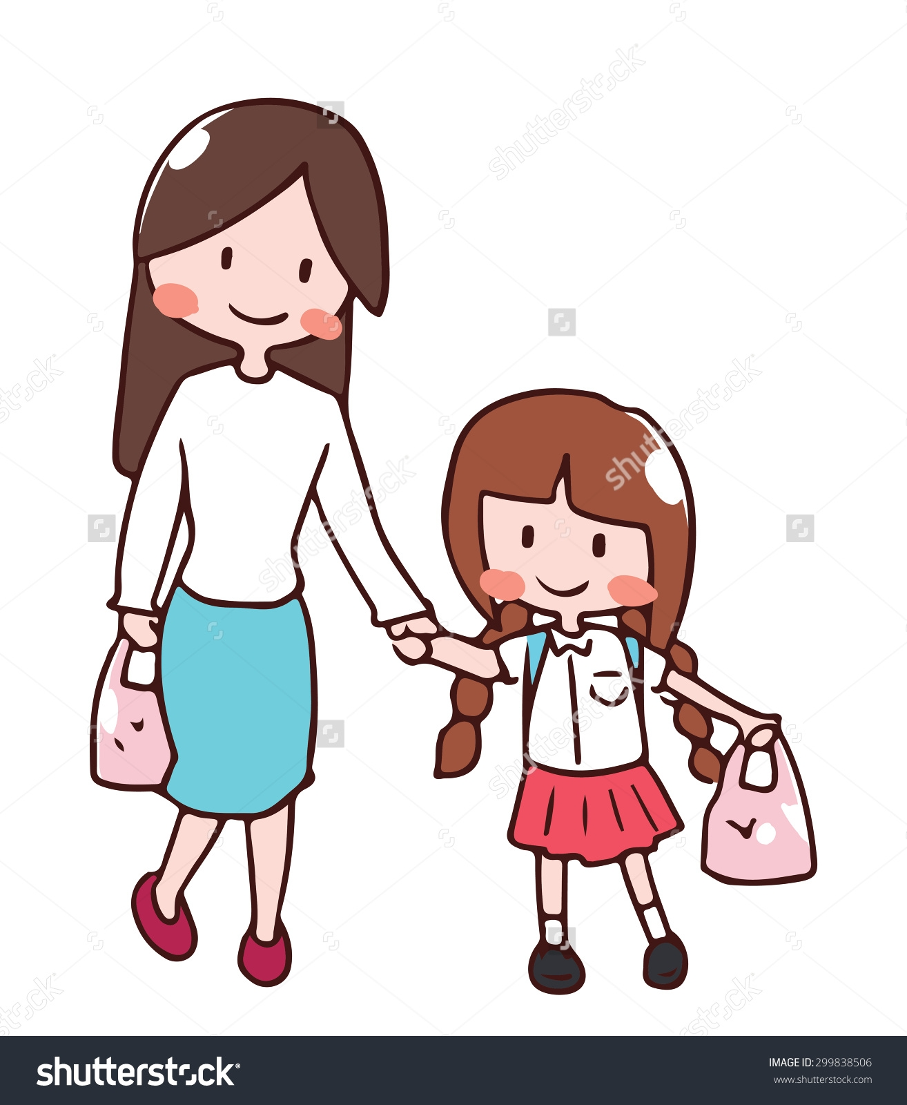 Mother And Daughter Holding Hands Clipart.