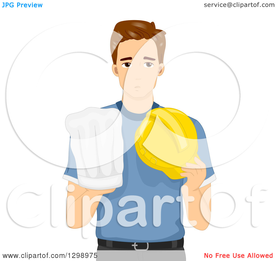 Clipart of a Young Brunette White Man Deciding to Pursue Chef or.