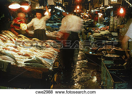 Pictures of Fish market at port of Pusan in South Korea cwe2988.