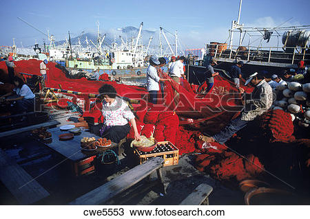 Stock Photo of Fishing nets and boats at Pusan port in South Korea.
