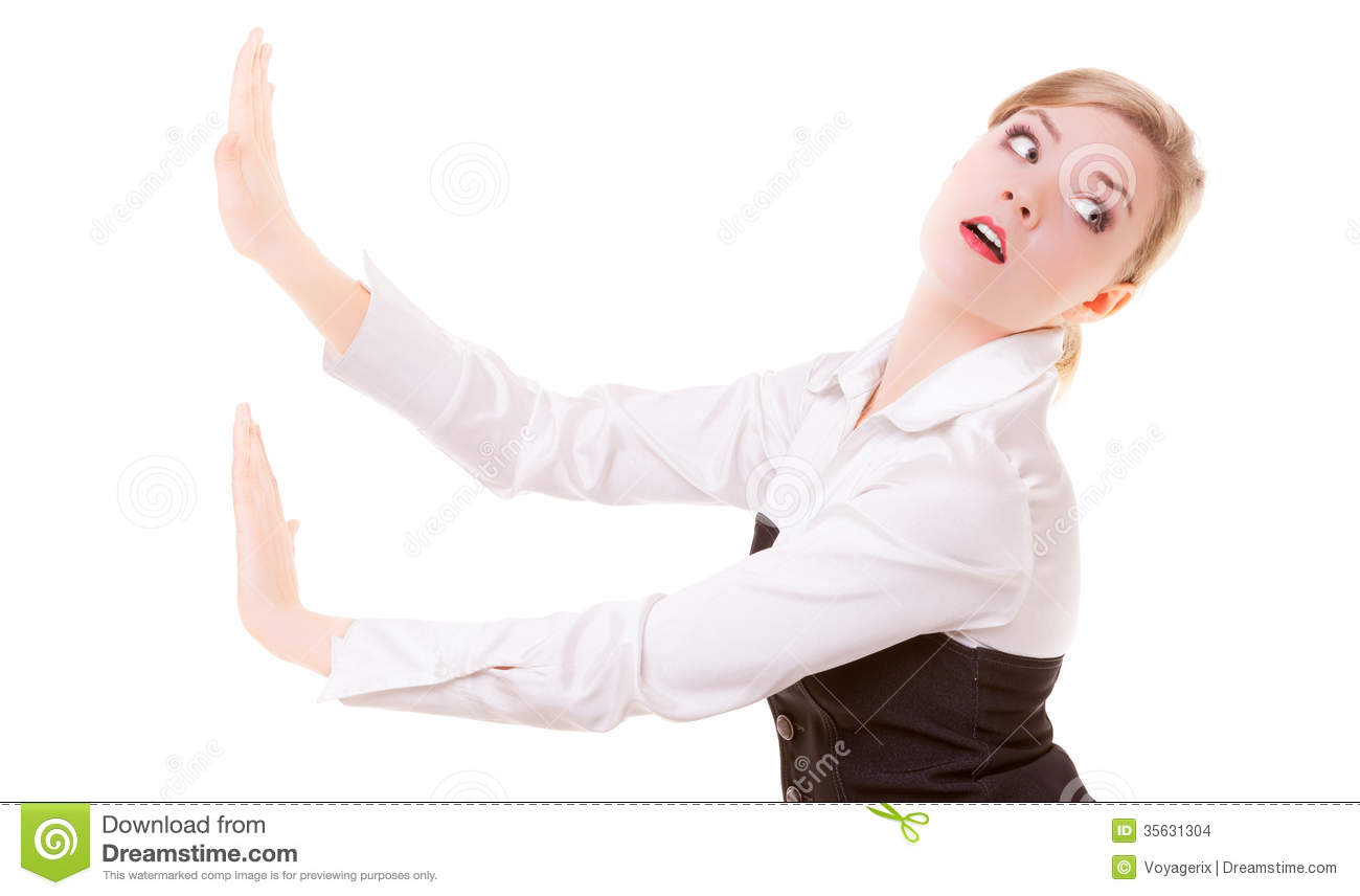 Business Woman Pushing Away Invisible Obstacles Copy.