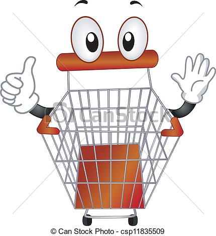 Vector Clipart of Pushcart Mascot.
