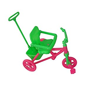 Amazon.com: Pink & Green Kids Tricycle with Push Handle for Dolls.
