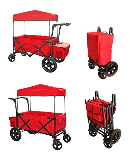 RED PUSH HANDLE / FOOT BRAKE FOLDING WAGON BABY STROLLER UTILITY.