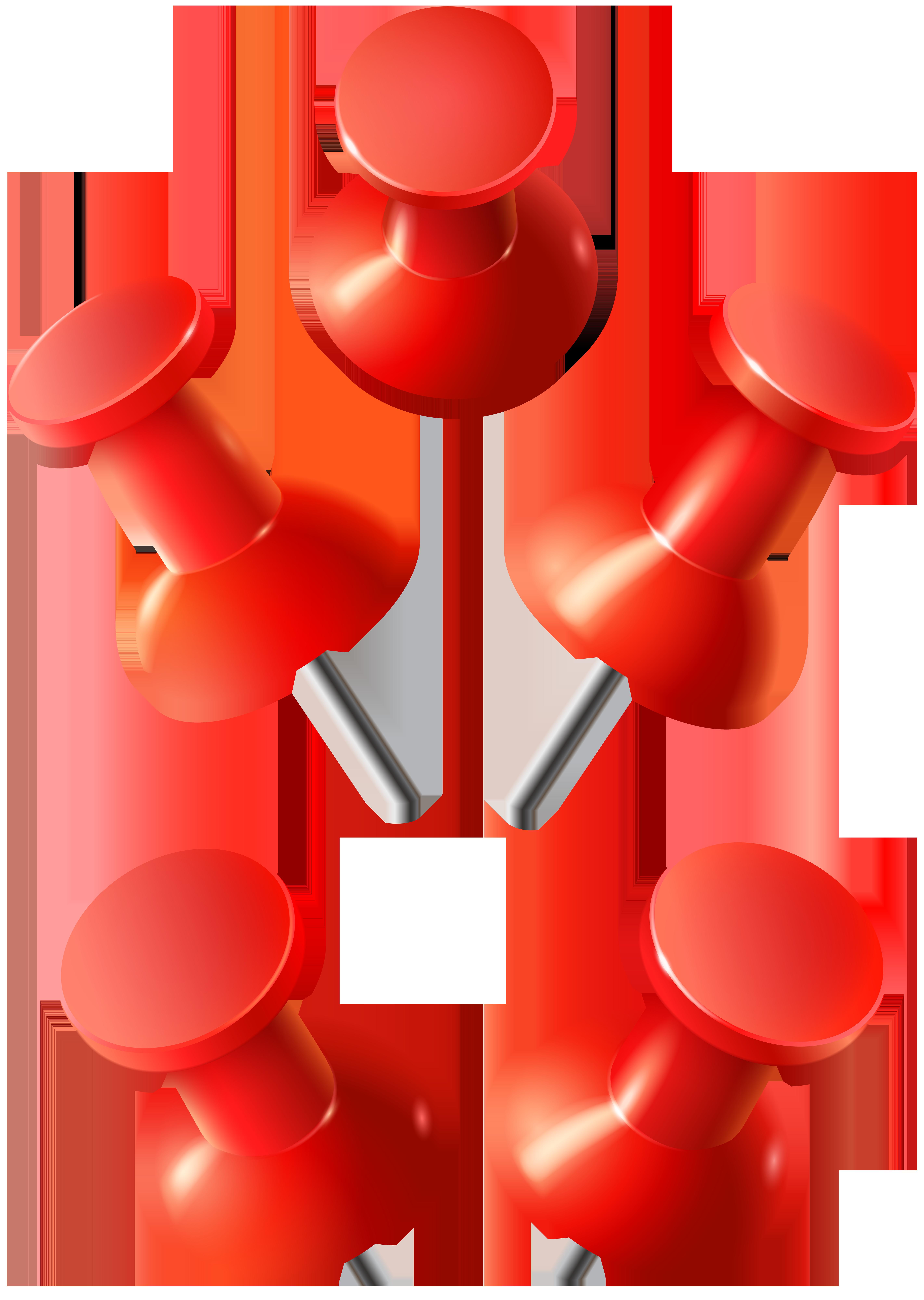 Red Push Pins PNG Clip Art Image.